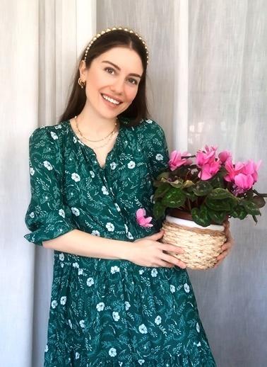 NGSTYLE Çiçek Desenli Elbise Yeşil